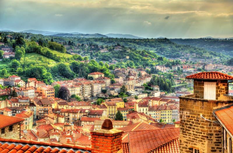 Panorama van Le Puy-en-Velay - Frankrijk royalty-vrije stock afbeeldingen