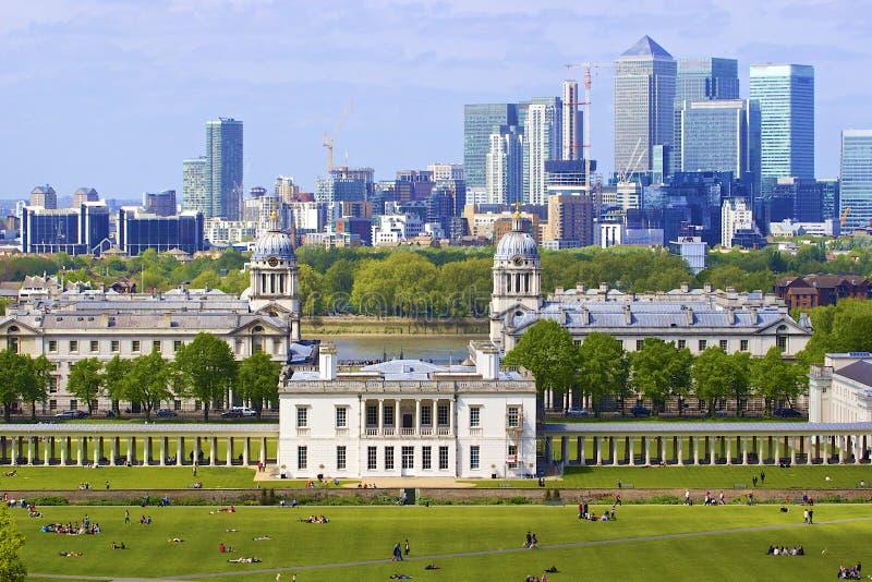 Panorama van Londen van Greenwich stock foto