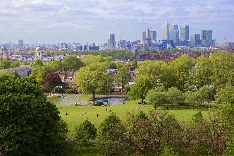 Panorama van Londen van Greenwich stock fotografie
