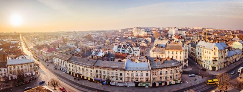 Panorama van Lviv stock afbeelding