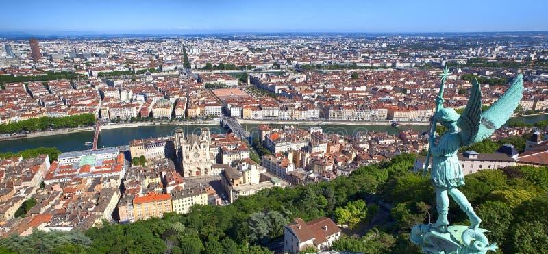 Panorama van Lyon Frankrijk stock foto's