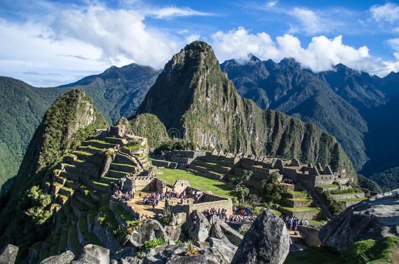 Panorama van Machu Picchu stock foto's