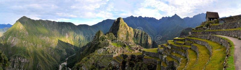 Panorama van Machu Picchu, verloren Inca-stad in stock fotografie