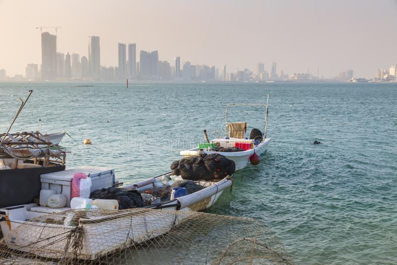 Panorama van Manama stock afbeelding