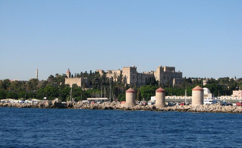 Panorama van Mandraki-haven royalty-vrije stock afbeelding