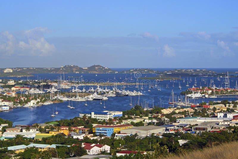 Panorama van Marigot-Baai, St Maarten royalty-vrije stock fotografie