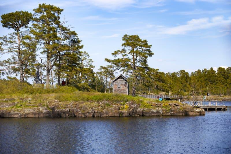 Panorama van Meer Ladoga en het Eiland Valaam royalty-vrije stock foto's