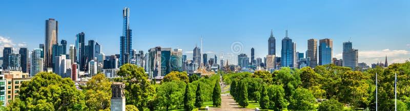 Panorama van Melbourne van Koningendomein parklands - Australië stock fotografie