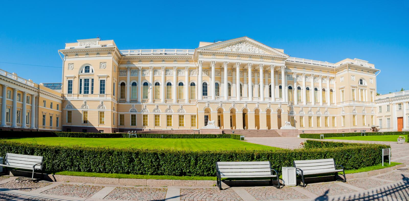 Panorama van Michael paleis, de bouw van het Russische museum van de Staat in St. Petersburg, Rusland royalty-vrije stock fotografie