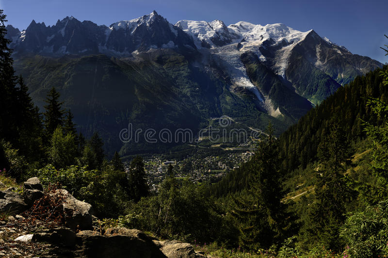 Panorama van Mont Blanc. Frankrijk stock foto