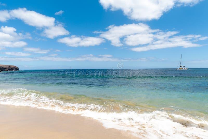 Panorama van mooi strand en tropische overzees van Lanzarote kanaries stock foto's