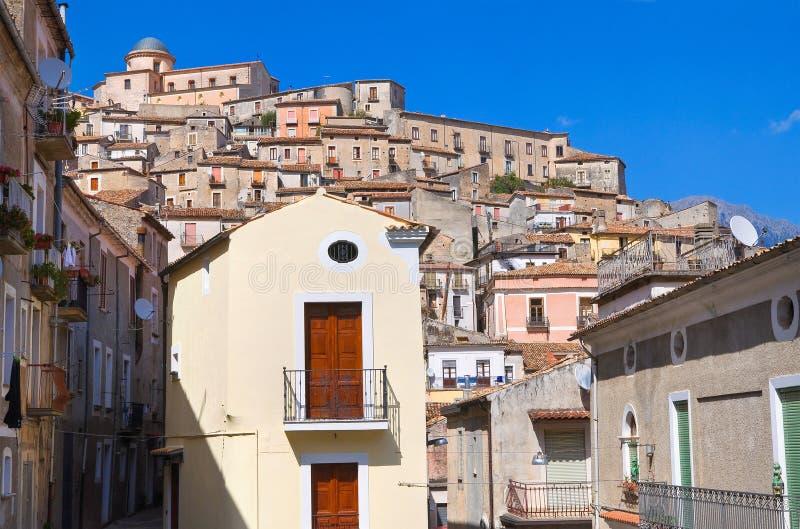 Panorama van Morano Calabro Calabrië Italië royalty-vrije stock afbeeldingen