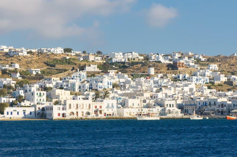 Panorama van Mykonos, Griekenland royalty-vrije stock foto's