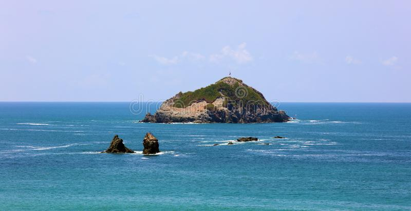 Panorama van nationaal het parkstrand van Manuel Antonio in Costa Rica, de meeste mooie stranden in de wereld stock fotografie