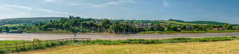 Panorama van Newnham op Severn op de Rivier Severn stock fotografie