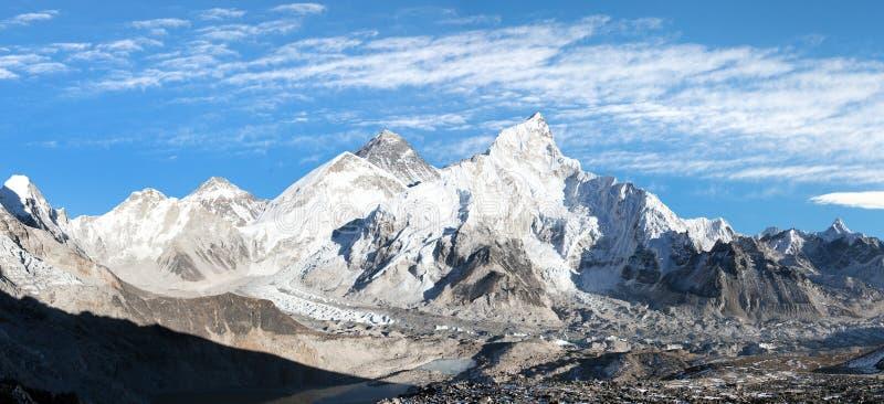 Panorama van Onderstel Everest met mooie hemel royalty-vrije stock foto's