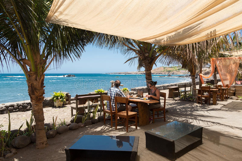 Panorama van openluchtrestaurant in Kaapverdië stock foto's