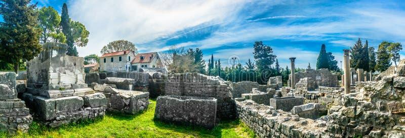 Panorama van oriëntatiepunt Salona, Kroatië stock afbeeldingen