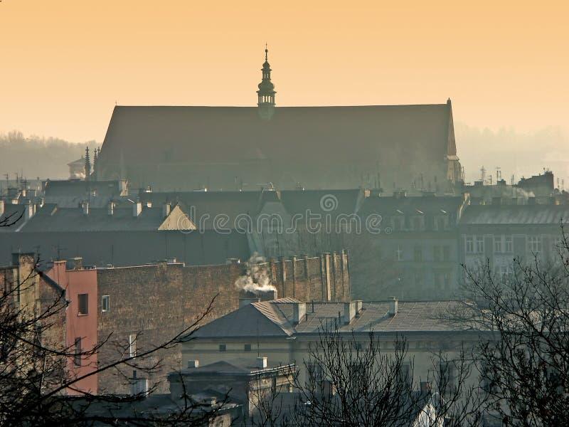 Panorama van Oud Krakau stock foto