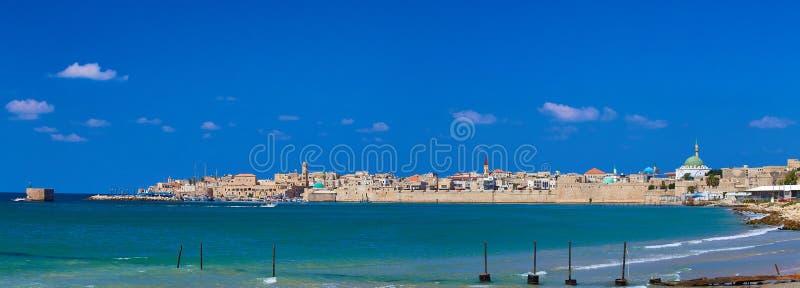 Panorama van Oude Acre Israël royalty-vrije stock afbeeldingen