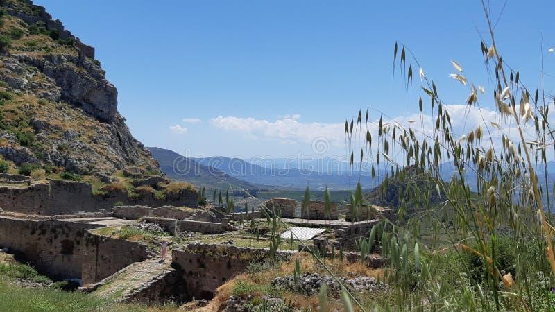 Panorama van oude Corinth royalty-vrije stock afbeelding