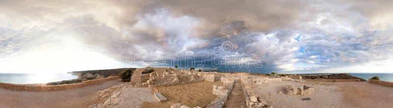 Panorama van oude Kourion stock afbeeldingen