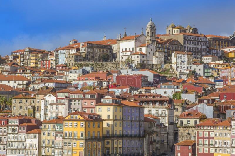 Panorama van Oude Porto Porto stad en Ribeira, Portugal royalty-vrije stock afbeelding