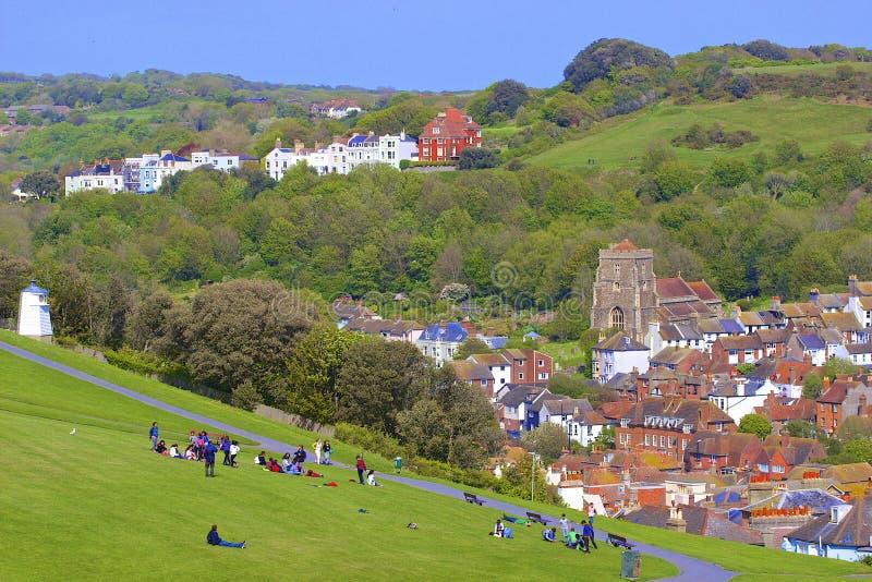 Panorama van Oude Stad in Hastings royalty-vrije stock fotografie