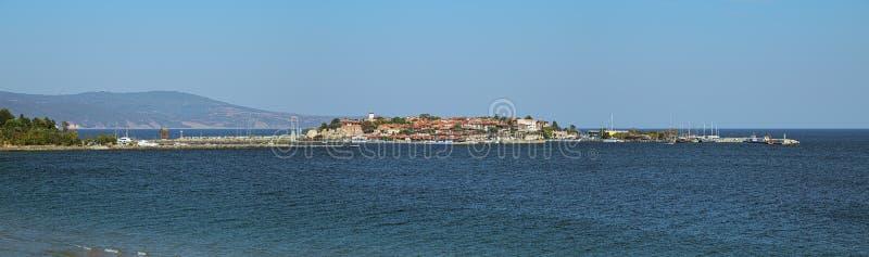 Panorama van Oude Stad van Nessebar, Bulgarije stock afbeelding