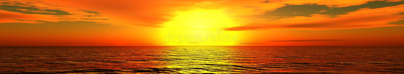 Panorama van overzeese zonsondergang, zonsopgang stock afbeeldingen