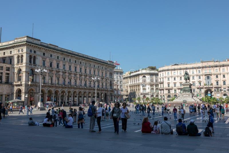 Panorama van Piazza del Duomo (Kathedraalvierkant) stock afbeelding