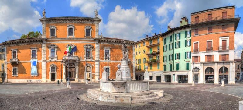 Panorama van Piazza del Mercato in Brescia royalty-vrije stock afbeelding