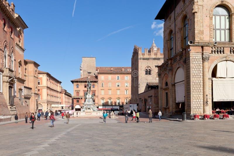 Panorama van Piazza del Nettuno in Bologna stock afbeelding