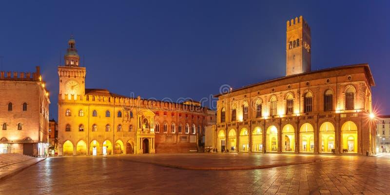 Panorama van Piazza het vierkant van Maggiore, Bologna, Italië royalty-vrije stock foto's