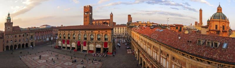 Panorama van piazza Maggiore - Bologna royalty-vrije stock afbeeldingen