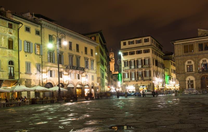 Panorama van Piazza Santa Croce in Florence stock fotografie