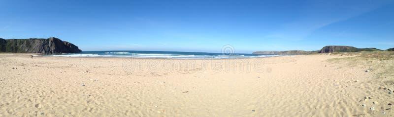 Panorama van Playa DE Xagà ³ dichtbij Gozà ³ n in Asturia, Noordelijk Spanje royalty-vrije stock afbeeldingen