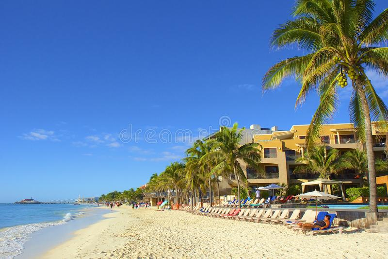 Panorama van Playa del Carmenstrand, Mexico royalty-vrije stock foto