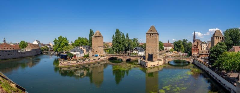 Panorama van Ponts Couverts, Straatsburg royalty-vrije stock afbeelding
