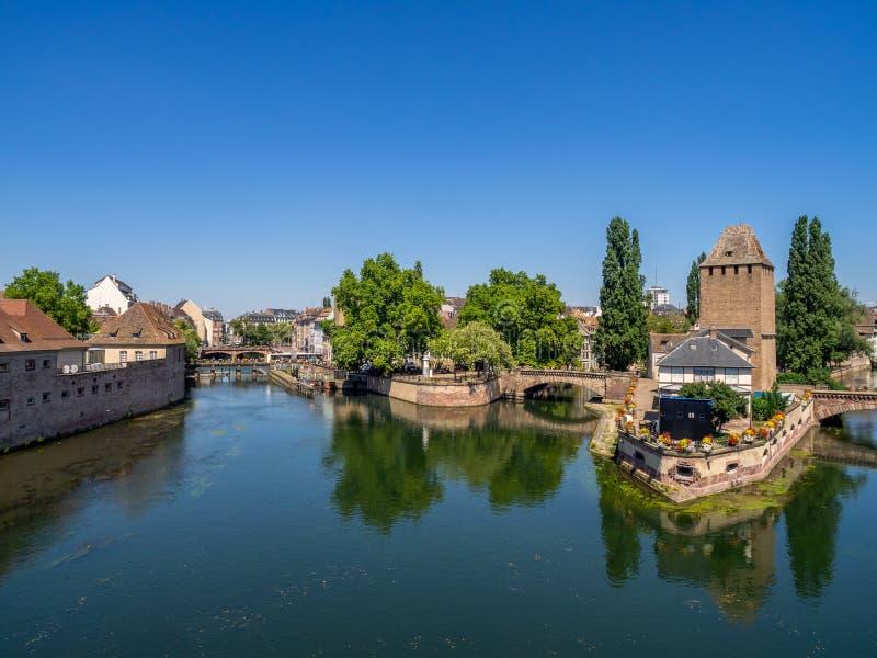 Panorama van Ponts Couverts, Straatsburg stock afbeeldingen