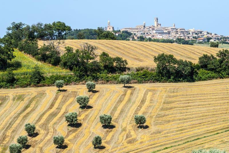 Panorama van Potenza Picena stock afbeeldingen