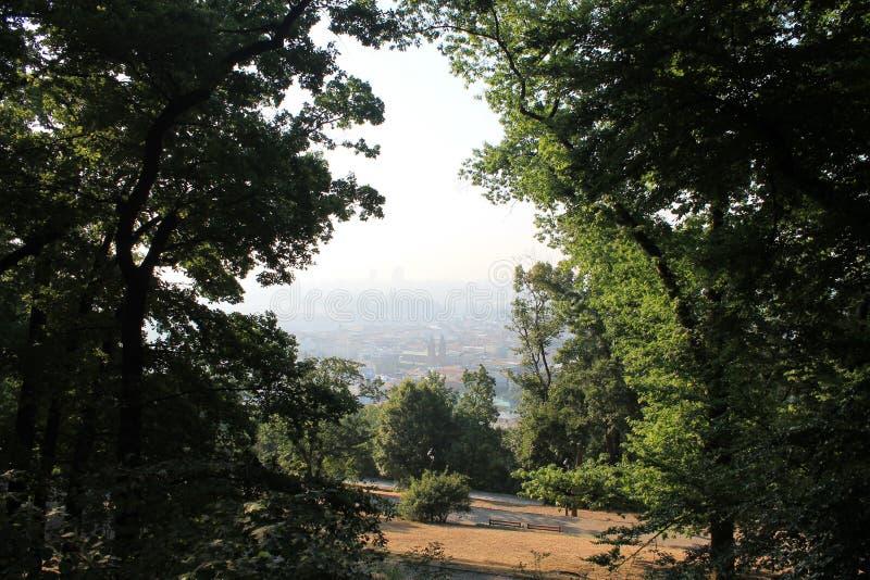 Panorama van Praag van de hoogte van Petrin-heuvel, Tsjechische Republiek royalty-vrije stock foto's