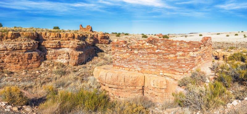 Panorama van pueblos van de dooscanion in Wupatki Nationale Monumen stock fotografie
