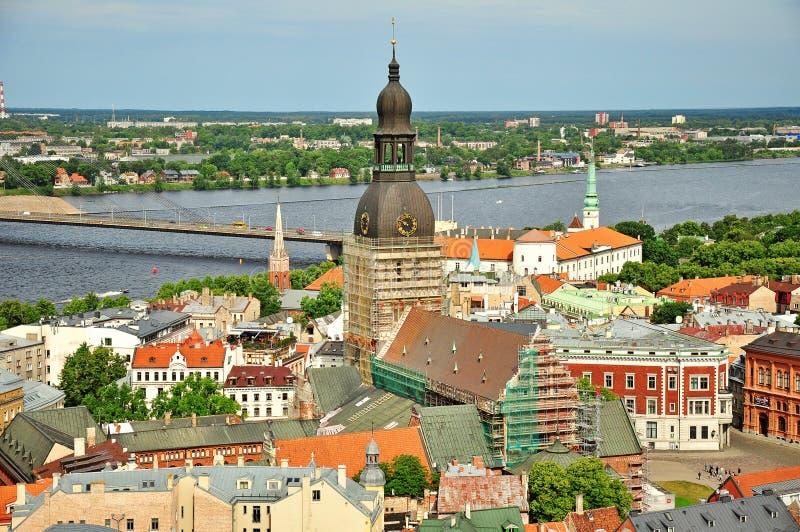 Panorama van Riga, Letland stock foto