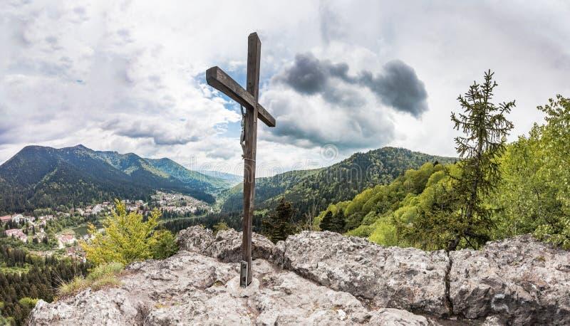 Panorama van Roemeense Karpatische bergen royalty-vrije stock afbeelding