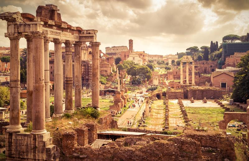 Panorama van Roman Forum in Rome, Italië royalty-vrije stock fotografie