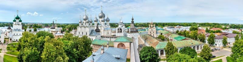 Panorama van Rostov het Kremlin in Yaroslavl Oblast van Rusland royalty-vrije stock foto