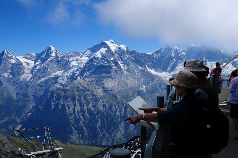 Panorama van Schilthorn aan Eiger, Mönch en JUngfrau in Bernese Oberland royalty-vrije stock foto's