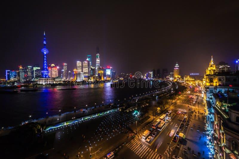 Panorama van Shanghai, China stock foto's