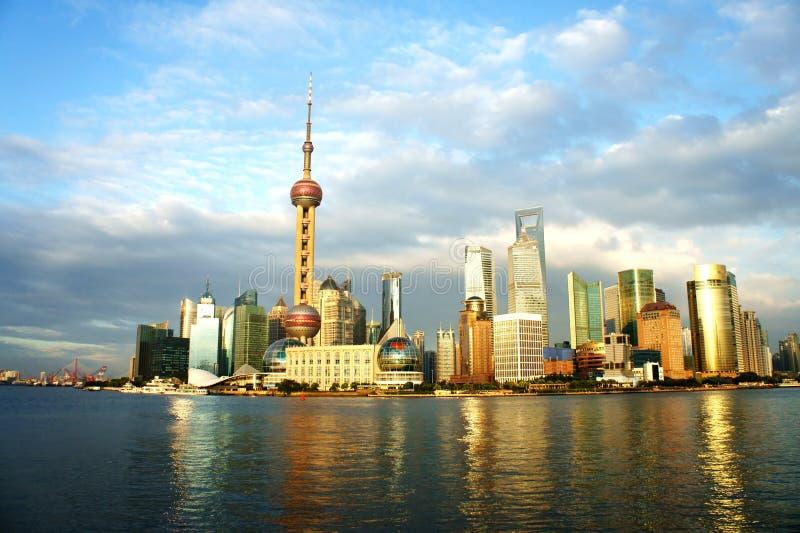 Panorama van Shanghai (de dijk) royalty-vrije stock foto